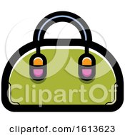 Clipart Of A Green Hand Bag Royalty Free Vector Illustration by Lal Perera