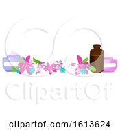Clipart Of A Flower And Beauty Product Banner Royalty Free Vector Illustration