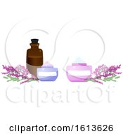 Clipart Of A Lavender Flower And Beauty Product Banner Royalty Free Vector Illustration
