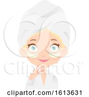 Clipart Of A Blue Eyed Blond White Girl With An Eye Mask On Wearing A Spa Robe And Towel On Her Head Royalty Free Vector Illustration