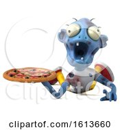 Clipart Of A 3d Blue Zombie On A White Background Royalty Free Illustration