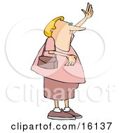 Blond Man Cross Dressed In Pink Womens Clothes Waving To Hail A Taxi