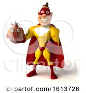 3d Buff White Male Yellow And Red Super Hero Holding A Fish Bowl On A White Background