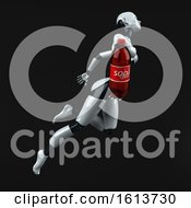 Clipart Of A 3d Feminine Robot On A Black Background Royalty Free Illustration