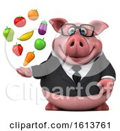 3d Chubby Business Pig On A White Background