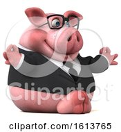 Clipart Of A 3d Chubby Business Pig On A White Background Royalty Free Illustration