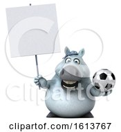 Clipart Of A 3d Chubby White Horse On A White Background Royalty Free Illustration