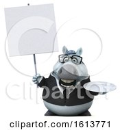 Clipart Of A 3d Chubby White Business Horse On A White Background Royalty Free Illustration