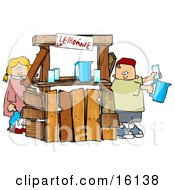 Little Boy And Girl Brother And Sister Selling Beverages At A Lemonade Stand Clipart Illustration