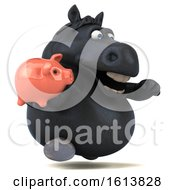 Clipart Of A 3d Chubby Black Horse On A White Background Royalty Free Illustration