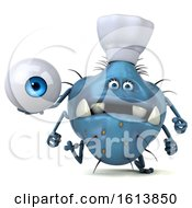 Clipart Of A 3d Blue Germ Monster On A White Background Royalty Free Illustration
