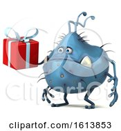 Poster, Art Print Of 3d Blue Germ Monster On A White Background