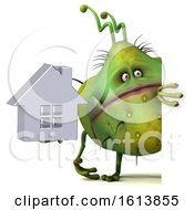 Clipart Of A 3d Green Germ Monster On A White Background Royalty Free Illustration