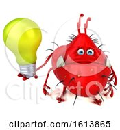 Clipart Of A 3d Red Germ Monster On A White Background Royalty Free Illustration