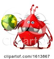 Poster, Art Print Of 3d Red Germ Monster On A White Background