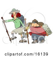 Skinny Woman Hiking With Her Husband That Is Out Of Shape Kneeling And Taking A Drink From A Canteen Clipart Illustration