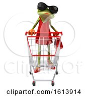 3d Green Female Frog On A White Background