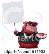 3d Red Business Bull On A White Background