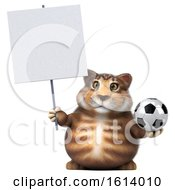 3d Tabby Kitty Cat On A White Background