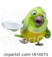 Clipart Of A 3d Green Bird On A White Background Royalty Free Illustration by Julos