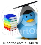 Clipart Of A 3d Blue Bird Graduate On A White Background Royalty Free Illustration