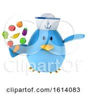 Clipart Of A 3d Blue Bird Sailor On A White Background Royalty Free Illustration