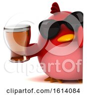 Clipart Of A 3d Chubby Red Bird On A White Background Royalty Free Illustration