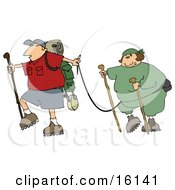 Man Carrying Hiking Gear And Holding A Leash Which Is Attached To His Overweight Wife Clipart Illustration