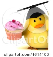 Clipart Of A 3d Yellow Bird Graduate On A White Background Royalty Free Illustration