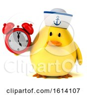 Clipart Of A 3d Yellow Bird Sailor On A White Background Royalty Free Illustration