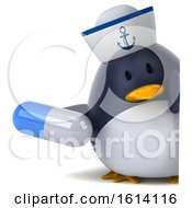 3d Chubby Penguin Sailor On A White Background