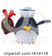 Clipart Of A 3d Chubby Penguin Sailor On A White Background Royalty Free Illustration