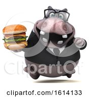 Clipart Of A 3d Business Hippo On A White Background Royalty Free Illustration