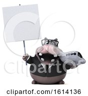 Poster, Art Print Of 3d Business Hippo On A White Background