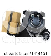 Clipart Of A 3d Black Business Bull On A White Background Royalty Free Illustration by Julos