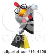 Poster, Art Print Of 3d Chubby White Business Chicken On A White Background