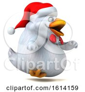 Poster, Art Print Of 3d White Christmas Chicken On A White Background