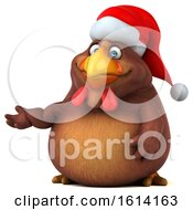 Poster, Art Print Of 3d Chubby Brown Christmas Chicken On A White Background
