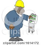 Clipart Of A Cartoon Black Worker Man With An Open First Aid Kit Royalty Free Vector Illustration