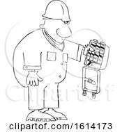 Clipart Of A Cartoon Lineart Black Worker Man With An Open First Aid Kit Royalty Free Vector Illustration