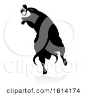 Poster, Art Print Of Bull Silhouette On A White Background