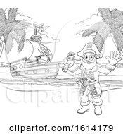 Poster, Art Print Of Cartoon Pirate On Beach Coloring Page
