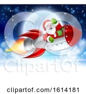 Santa Claus In Rocket Christmas Moon Cartoon