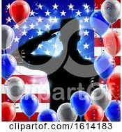 Poster, Art Print Of Saluting Soldier American Flag Balloon Design