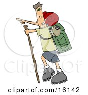 Skinny And Energetic Man Using A Stick While Hiking And Pointing Forward And Carrying Camping Gear On His Back