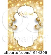 Golden Christmas Background With Gold Hanging Baubles