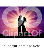 Poster, Art Print Of Silhouette Of Wedding Couple On Starburst Background
