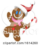 Clipart Of A Christmas Gingerbread Man Carrying A Candy Cane And Waving Royalty Free Vector Illustration