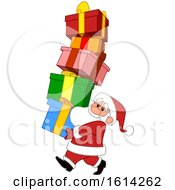 Cartoon Santa Claus Carrying A Tall Stack Of Gifts