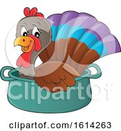 Clipart Of A Turkey Bird In A Pot Royalty Free Vector Illustration
